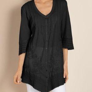 Soft Surroundings Grenada Gauze Shirt Plus Size 2X
